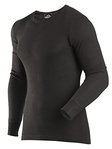 ColdPruf Men's Enthusiast Single Layer Long Sleeve Crew Neck Base Layer Top, Black, Medium Tall Cold Weather Polypropylene Underwear Top