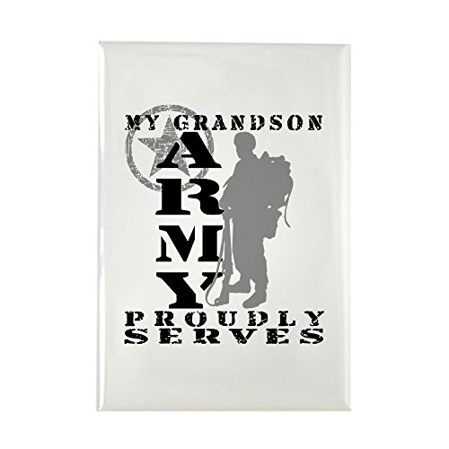 CafePress - Grandson Proudly Serves 2 - ARMY - Rectangle Magnet, 2
