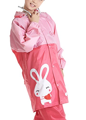 Liveinu Children Dolphin Rain Suit with Transparent Visor Hoodie Pink - Pink Transparent Visor