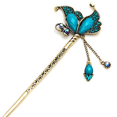 (YOY Fashion Long Hair Decor Chinese Traditional Style Women Girls Hair Stick Hairpin Hair Making Accessory with Butterfly,Peacock)