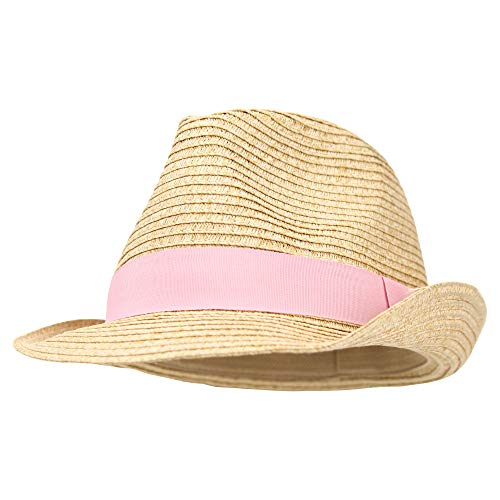 Women's Stretch Fit Paper Straw Fedora Hat (Light Pink) -