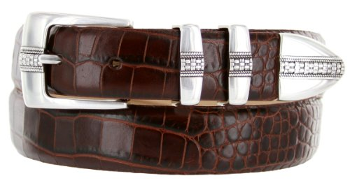 Brandon Italian Calfskin Leather Designer Dress Golf Belt for Men (38, Alligator Brown)