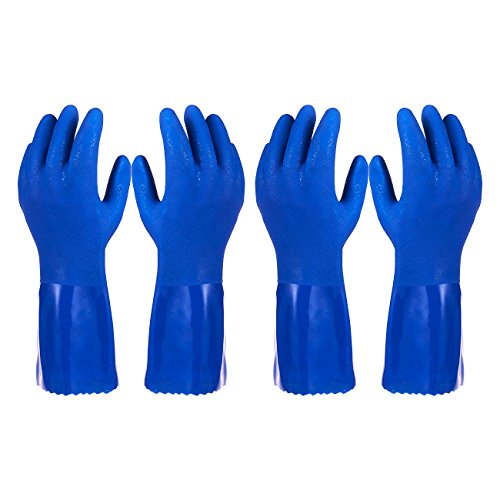 Gloves Lined Cotton Rubber - Pack of 2 Pairs Household Gloves - Cotton Lined Dish Gloves - Dishwashing Gloves - Rubber Gloves - Kitchen Gloves, Blue, Medium