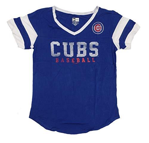 New Era Chicago Cubs Women's Double Stripe Short Sleeve V-Neck T-Shirt - Chicago Shirts Cubs Women