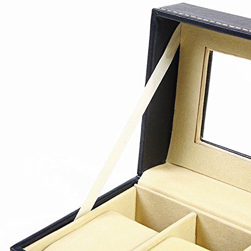Kingdoo Watch Box for Men Black PU Leather Display Clear Top Jewelry Case Organizer (6slot) by Kingdoo (Image #3)