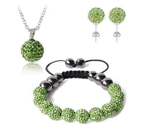 Bharatanatyam Costumes Blue - AdamEva Factory - Crystal Shamballa Disco Balls Sets Jewelry Set [Necklaces Pendants / Bracelet / Earring Studs] (Green)