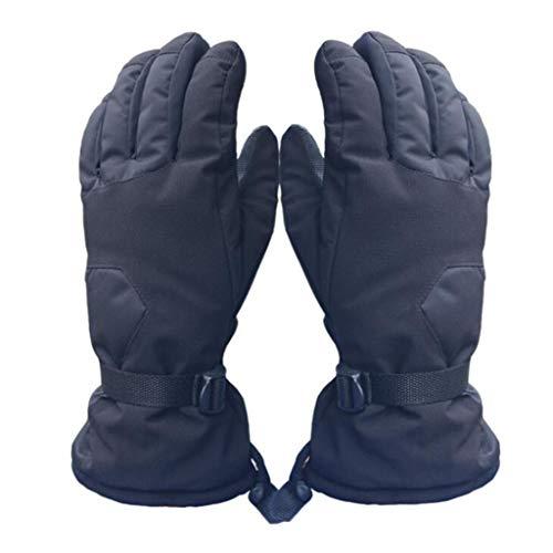 ZHM Ski Gloves, Men's and Women's Winter Plus Velvet Thick Warm Gloves Motorcycle Waterproof Riding Cotton Gloves,Black