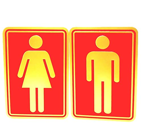 eyesonme Man Woman Bathroom Toilet WC Decal Restroom Sign Decor Art Wall Home Hotel Office School Restaurant Room Decoration Reflect Gold red self Adhesive foil 2 Dimension Stickers 8.5 x 12.5 cm