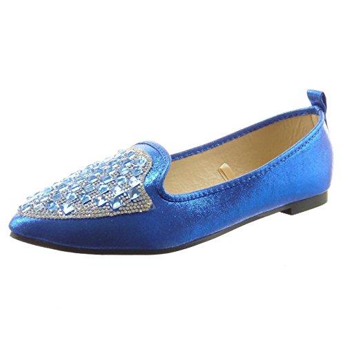 Sopily - Scarpe da Moda ballerina alla caviglia donna strass Tacco a blocco 1 CM - Blu