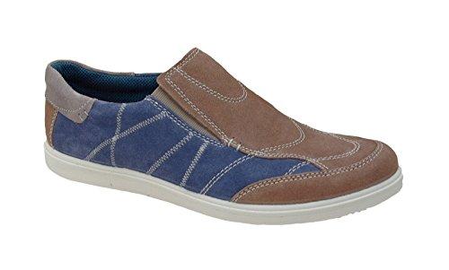 Jomos Hombres Zapatilla Vesuvio 316321-84-4045 azul / marrón, Gr. 41-46, nubuck, intercambiable, H ancho blau/kombi
