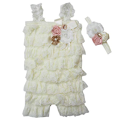 Baby Elegant Rosettes Pearl Lace Petti Romper Headband Set Large Cream