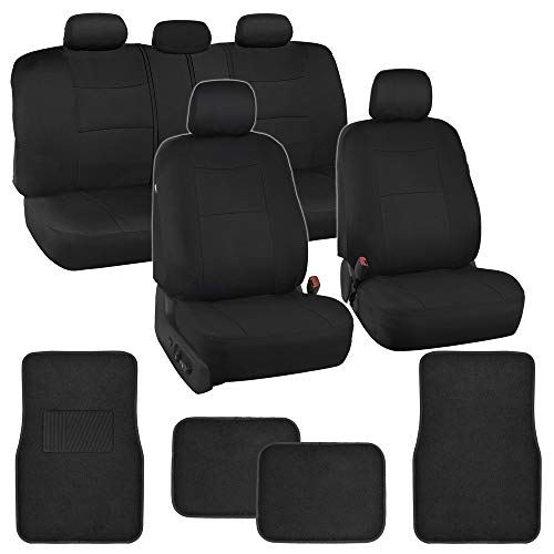 Simply Covered – Black Car Seat Covers Protectors Full Set Interior w/Secure-Grip Carpet Floor Mats for Car Auto ()