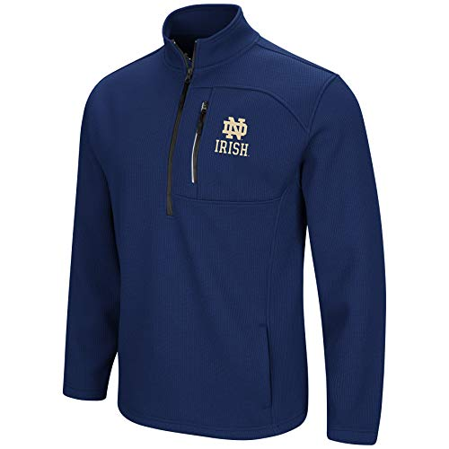 Fleece Notre Dame Irish Jacket - Colosseum Men's NCAA-Townie-1/2 Zip-Corded-Fleece Pullover Jacket-Notre Dame Fighting Irish-Navy-Large