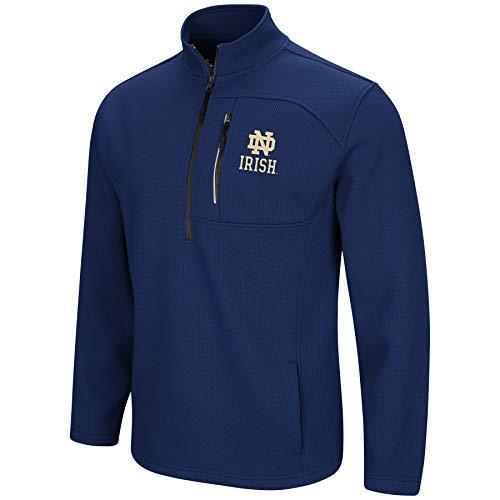 Colosseum Men's NCAA-Townie-1/2 Zip-Corded-Fleece Pullover Jacket-Notre Dame Fighting Irish-Navy-Large