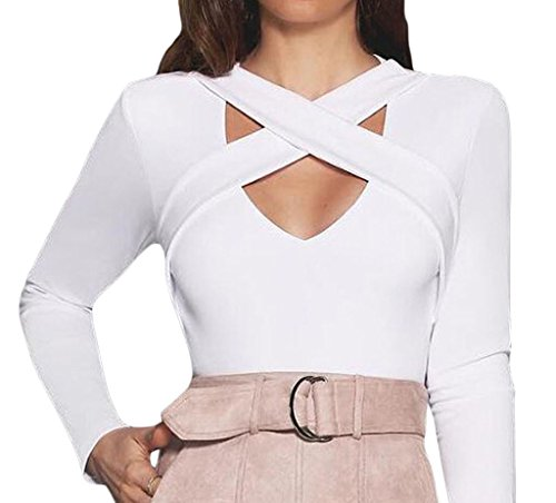 Shawhuwa Womens Sexy Cross Straps Long Sleeve Party Club Crop Top S A-white (Cheap Sexy School Girl Outfits)
