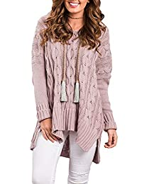 Les umes Women's Casual Long Sleeve Sweater Solid V Neck Jumper Baggy Loose Fit Knitted Oversized Pullover Tops