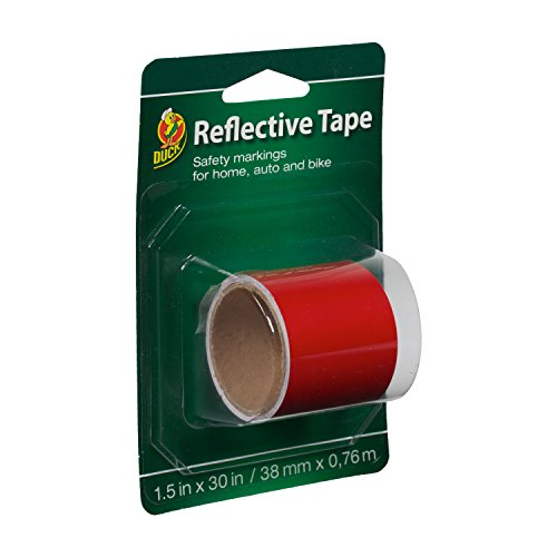 Duck Brand 896384 Self-Adhesive Reflective Tape, 1.5-Inch x 30-Inch Single Roll, Red