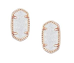 Kendra Scott Petite Ellie Stud Earring in Rose Gold Plated and Iridescent Drusy