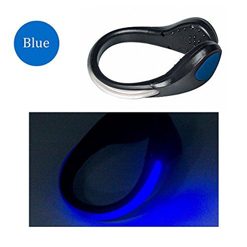 TEQIN Black Shell Blue LED Flash Shoe Safety Clip Lights for Runners & Night Running Gear - Reflective Running Gear for Running, Jogging, Walking, Spinning or Biking + Velvet Bag - (Set of 2)
