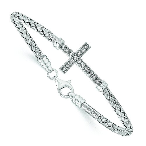 En argent sterling poli plaqué rhodium cz Pendentif Croix italien bracelet jonc