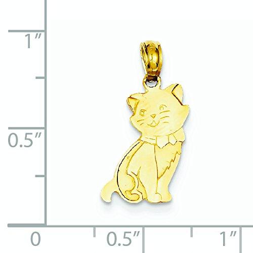 14 Carats Pendentif Chat Assis-JewelryWeb