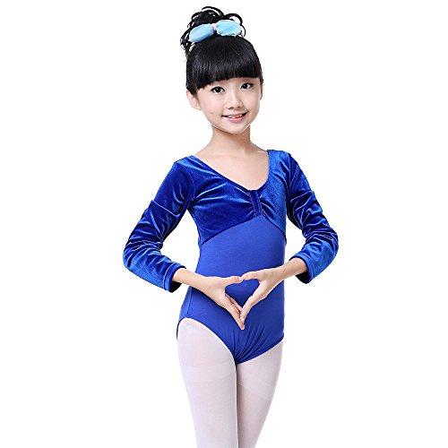 (XFentech Girls Kids Velvet Bowknot Long Sleeve / Short Sleeve Ballet Dancing Leotard Gymnastic Dress Costume Dancewear, Royal blue)