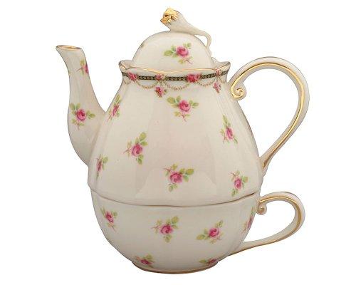 Gracie China Pink Petite Fleur Porcelain 3-Piece Tea Set for 1 Fleur Teapot