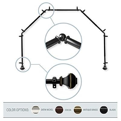 """A&F Rod Décor - Phife 13/16"""" 5-Sided Bay Window Curtain Rod 28-48 inch (each side)"""