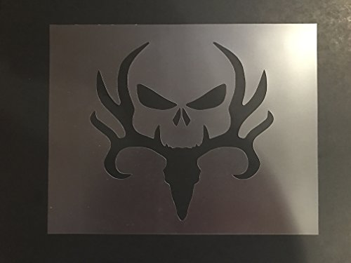 Deer and Skull Stencil #1 Reusable 10 mil Thick 7in x 9in sheet by Everyday Funny Finds