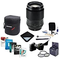 Fujifilm XF 90mm (137mm) F/2 R LM WR Lens - Bundle with 62mm Filter Kit, Flex LensShade, Lens Wrap, Lens Case, Cleaning Kit, Professional Software Package