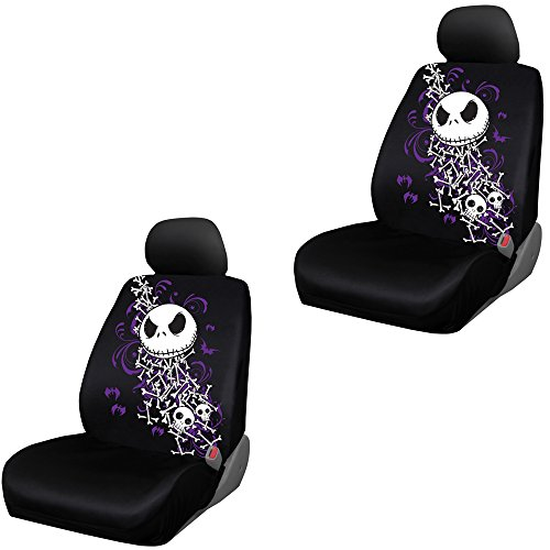 Nightmare Before Christmas Jack Skellington Bones Disney Movie Cartoon Character Auto Car Truck SUV Vehicle Low Back Front Bucket Seat Covers – PAIR