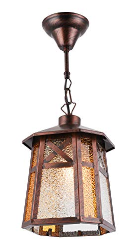 BETLING Outdoor Pendant Lantern Hanging Porch Light Fixture, Oil Rubbed - Dark Outdoor Bronze Hanging