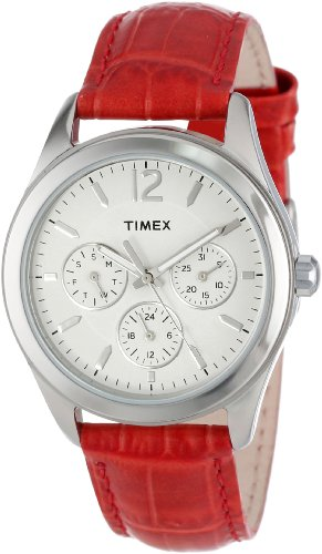 (Timex Women's T2P069KW Ameritus Multi-Function White Dial, Red Croco Patterned Leather Strap)