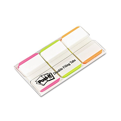 3M/COMMERCIAL TAPE DIV 686LPGO Durable File Tabs, 1 x 1 1/2, Striped, Assorted Fluorescent Colors, 66/Pack