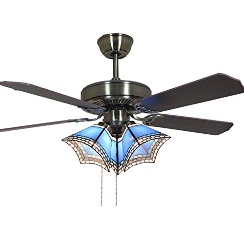 Andersonlight Originality Vintage Ceiling Fan 3-Lights Walnut 4-Blades for Traditional Living Room Pull Rope Control Mute Energy Saving Fan Chandeliers 42 Inch