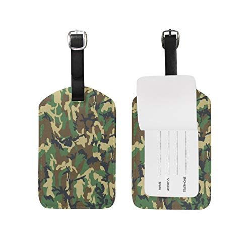 Army Green Camo PU Luggage Tags Loss Prevention Baggage Tag New Travel Bag Mark Accessories Identity Card Pet Mini Gift