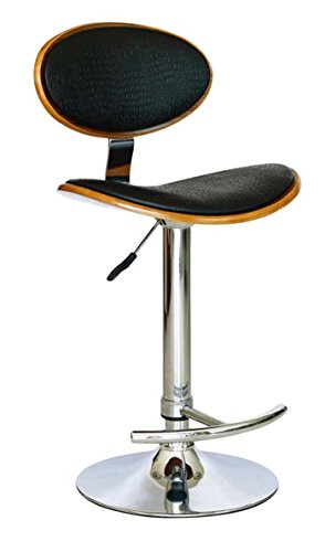 Creative Images International Modern Collection Height Adjustable Swivel Bar Stool with Crocodile Embossed PU Leather and Gas Lift, Black ()