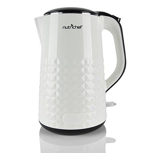 Nutrichef Hot Water Kettle White 1000 Watt 120V Boil Water Q