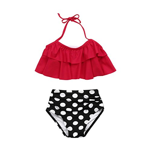 Goodtrade8 Toddler Baby Girl Princess Ruffle Off Shoulder Swimsuit Two-Piece Bikini Set Bathing Suit (5T(4-5 Years), Red)