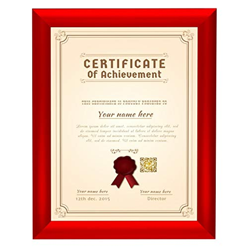 SnapeZo Certificate Frame 8.5x11 Inches, Red 1 Inch Aluminum Profile, Front-Loading Snap Frame, Wall Mounting, Sleek Series
