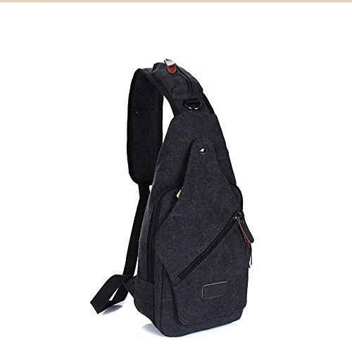 DOXUNGO - Bolso al hombro de lona para hombre negro