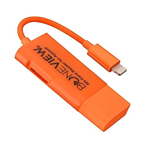 BoneView SD Card Reader for iPhone - New Corded Trail Camera Viewer Plays Deer Hunting Game Camera Scouting Video & Photo Memory on All Latest Apple iOS iPad and iPhone Smartphones, Orange by BoneView (Image #1)