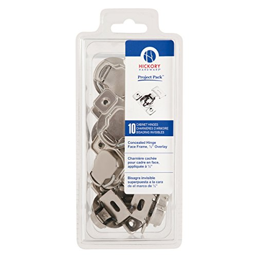 (Hickory Hardware VP5125-14 Project Collection Value Euro Frame Hinge Polished Nickel Finish (10 Pack), Bright)