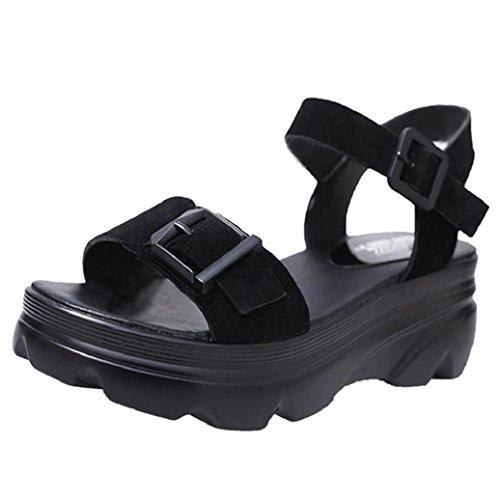 Elevin(TM)2017 Women Summer Casual High Thick Platform Shoes Fashion Peep Toe Buckle Strap Pumps Sandals (6US, Black)