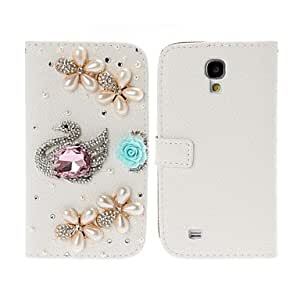 GOG-DIY 3D Swan and Pearl Flowers with Rhinestone Full Body Leather Case with Stand for Samsung Galaxy S4 i9500