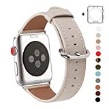 WFEAGL Compatible iWatch Band 38mm 42mm, Top Grain Leather Band Replacement Strap for iWatch Series 3,Series 2,Series 1,Sport, Edition(Ivory White Band+Silver Buckle)