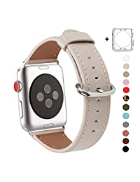 WFEAGL Compatible Apple Watch Band 38mm, Top Grain Leather Band Replacement Strap with Stainless Steel Clasp for iWatch Series 3,Series 2,Series 1,Sport, Edition (IvoryWhite Band+Silver Buckle)