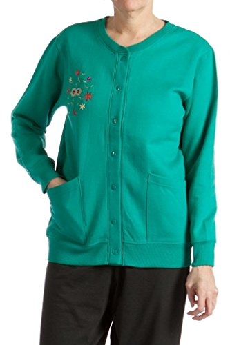 Pembrook Womens Fleece Cardigan Jacket with Embroidery-XL-Teal