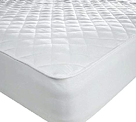 Queens Land Home T200 Egyptian Cotton Quilted Mattress Protector, 40cm or 16' Deep Fitted Skirt-Small Double (4FT) 40cm or 16 Deep Fitted Skirt-Small Double (4FT) ANH TRADING