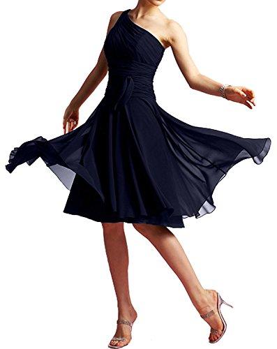 Abendkleider La Kleider Partykleider Navy Blau mia Chiffon Knielang Navy Chiffon Jugendweihe Braut Blau Promkleider rrX8p